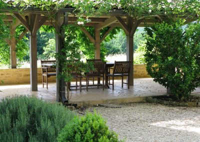Covered terrace for outdoor dining.
