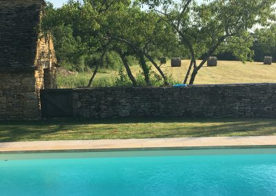 Looking from pool to the meadow beyond.